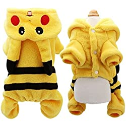 SIZE XL Pokemon Dog Costume New Arrival Dogs Clothes Cute Cartoon Pikachu Design Cosplay Pets Costume Dog Clothing For Cats Puppy Hoodie Winter Warm Coat