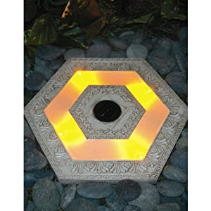 Solar powered lighted stepping stone hexagonwhite home for Solar powered glow stepping stones