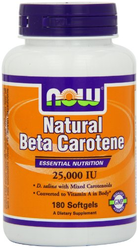 Now Foods Nat Beta Carotene 25000, Soft-gels, 180-Count
