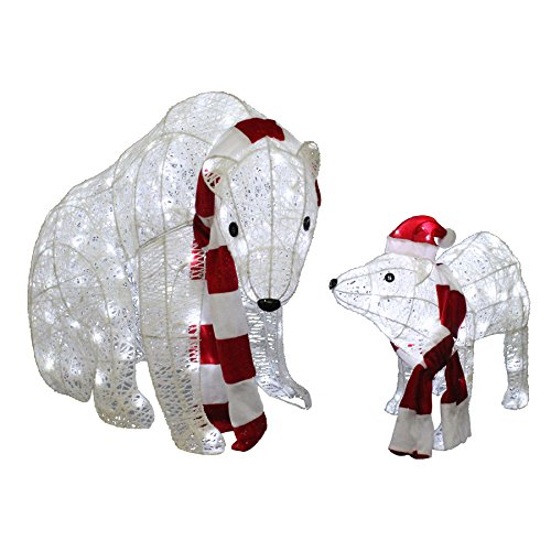 lighted polar bear freestanding sculpture outdoor christmas decoration with white led lights large polar bear is 32 in - Polar Bear Christmas Outdoor Decoration Led Lights