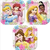 Disney Princess Party Plates - Disney Princess Square Dessert Plates - 8 Count