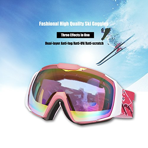 D&S OTG Ski Goggles Over Glasses with Googles Case - Skiing,Snow,Snowboard,Snowboarding,Snowmobile Eyewear with Dual Anti-fog,UV Lens - Large Frame for Adult,Men,Women(Pink)