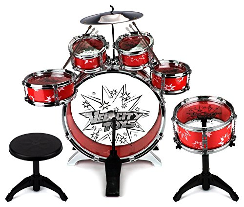 Toy-Drum-Set-for-Children-11-Piece-Kids-Musical-Instrument-Drum-Playset-w-6-Drums-Cymbal-Chair-Kick-Pedal-Drumsticks-Red-by-Velocity-Toys