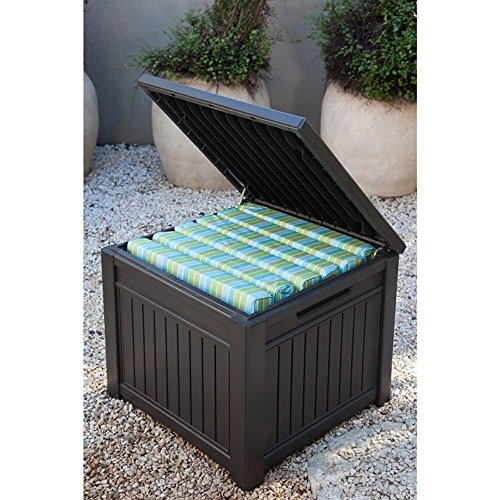 Keter Cube Wood-Look 55 Gallon All-Weather Garden Patio Storage Table or Bench (Outdoor Bench Storage Wood compare prices)