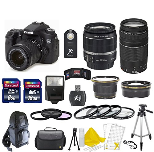 Canon Eos 70D 20.2 Mp Digital Slr Camera With Dual Pixel Cmos Af Digital Slr Body With Ef-S 18-55Mm Is Stm Lens & Ef 75-300Mm Iii Lens With 58Mm High Definition Wide Angle Lens + 58Mm 2X Telephoto Lens + Macro Close-Up Set + Auto Slave Flash + Filter Kit