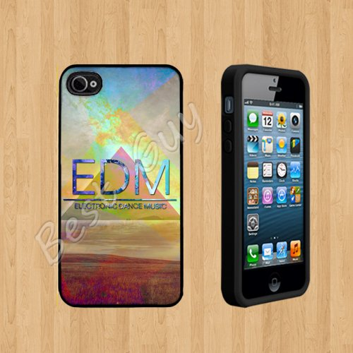 EDM electronic dance music1 colorful nebula field Custom Case/Cover FOR Apple iPhone 4 /4S BLACK Rubber Case ( Ship From CA )
