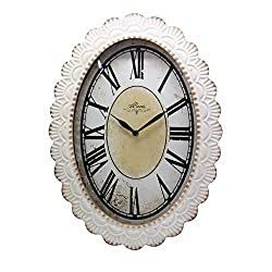 NIKKY HOME Vintage French Wall Clock, 18 by 13 Inches, Off-white