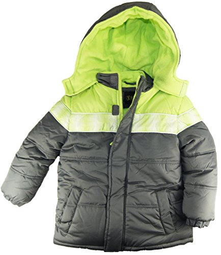 Ixtreme Little Boys Classic Puffer Hooded Winter Jacket, Charcoal, 6 front-1059108