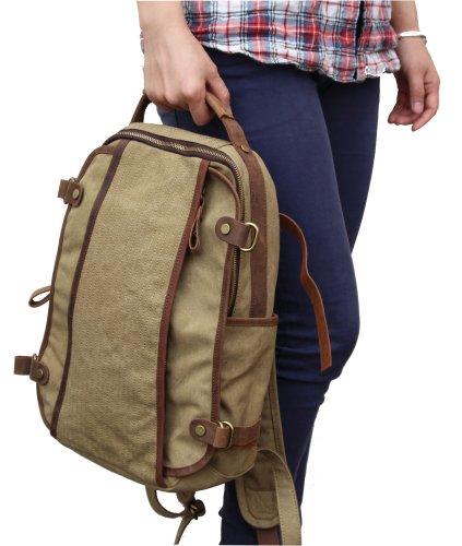 Otium 21301KA High Density Canvas Genuine Leather BagPack,Khaki