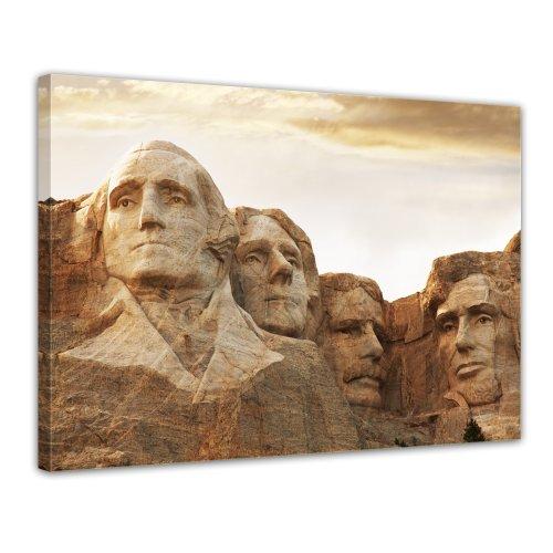 Bilderdepot24 Leinwandbild Mount Rushmore - 70x50 cm 1 teilig - fertig gerahmt, direkt vom Hersteller