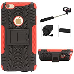 DMG Heavy Duty Mesh Protection Dual Layer Back Cover Case with Kickstand for Apple iPhone 6 Plus (Red) + Wireless Bluetooth Selfie Stick with Image Zoom