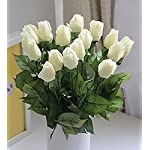 iMeshbeanReal Like Artificial Silk Fake Roses Latex Real Touch Flowers Wedding Bouquet House Garden Decoration (White Bud, 20PCS IN ONE BUNCH)