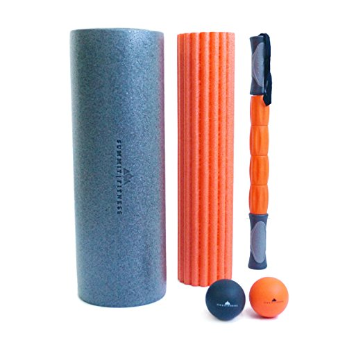 ✠ NEW LAUNCH ✠ Summit Fitness 3 in 1 18 Inch Foam Roller + 2 Massage Balls + Carrying Bag | Includes Deep Tissue Massage Stick + High Medium Density Rollers | For Myofascial Trigger Point Release (Roller Package compare prices)