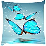 Snoogg Blue Butterfly Digital Cushion Cover Throw Pillows 16 X 16 Inch