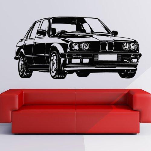 BMW Wandaufkleber Wandtattoo Auto Kunst verfügbar in 5 Größen und 25 Farben Extragroß Schwarz