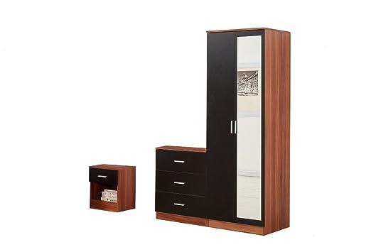 YAKOE Set di mobili camera da letto armadio Beside Mobiletto, Legno, Noce/Nero, 3pezzi