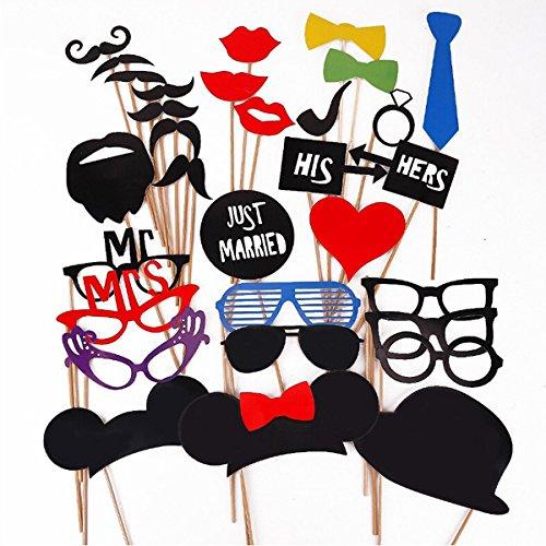 Tinksky Foto stand puntelli 31 piece Kit fai da te per matrimonio festa riunioni compleanni Photobooth Dress-up accessori partito favori, costumi con i baffi su un bastone, Cappelli, occhiali, bocca, Bowler, Bowties