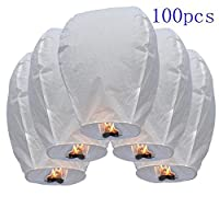 DHLUNION 100 Pcs Chinese Sky Fly Fire Paper Lanterns Wish Balloon Wishing Lamp for Wedding Birthday Christmas Party White by Sky Lanterns / Khoom Fay