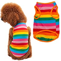 Puppy Shirt, HP95(TM) Summer Rainbow Stripe Pet Shirt Dog Cat Costume Clothing