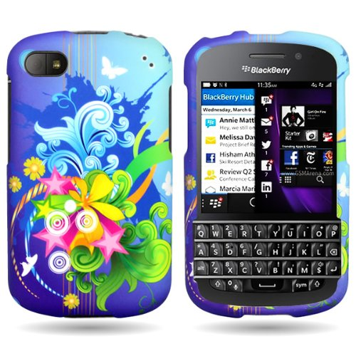 Coveron® Slim Hard Case For Blackberry Q10 With Cover Removal Tool - (Floral Burst)