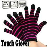 Touch Gloves タッチパネル対応手袋 ボーダー・ブラック/ピンク 0990238