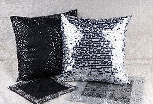 Jooyi® Luxury Modern Stylish Comfy Round Glitzy Sequin Decorative Pillow Case Cushion Cover, Hidden Zipper Design (30cmX50cm, Silver)