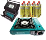 PORTABLE GAS STOVE & HEATER WITH 8 GA...