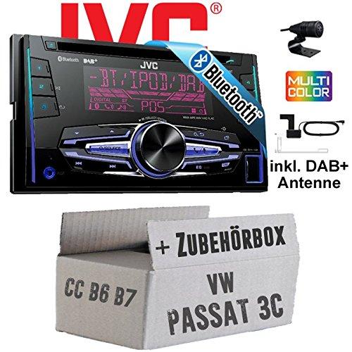 VW Passat 3C CC B6 B7 - JVC KW-DB92BT - 2DIN USB Bluetooth DAB+ Autoradio inkl. DAB+ Antenne - Einbauset