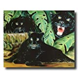 Three Black Panthers Wildlife Home Decor Wall Picture 16x20 Art Print