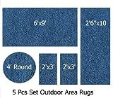 Indoor-Outdoor Pacific, 5 Piece Set Patio Rug's, (6'x9', 2'6