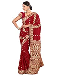 Designer Staggering Maroon Colored Embroidered Faux Georgette Saree By Triveni