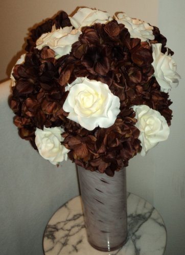 New Hydrangea & Rose Silk Floral Arrangement