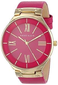 Anne Klein Women's AK/1612MAMA Gold-Tone Magenta Leather Strap Watch