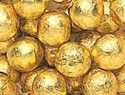Gold Foiled Milk Chocolate Balls 5LB Bag
