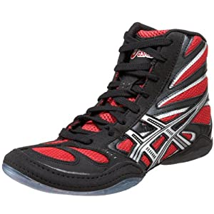 ASICS Men's Split Second 8 Wrestling Shoe,Black/Red/Silver,7 M US