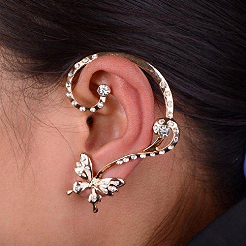 Binmer(TM)Fashion Crystal Butterfly Cuff Ear Clip Wrap Earrings Women Girls Gift Cosplay Dance Party Set