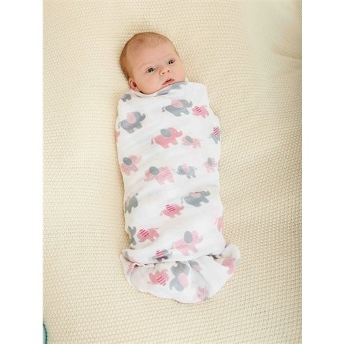 Mud Pie Pink Elephant Swaddle Blanket Set