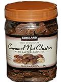Kirkland Milk Chocolate Caramel Nut Clusters with Salted Caramel. Net Wt 32 Oz (2lb) 907g.
