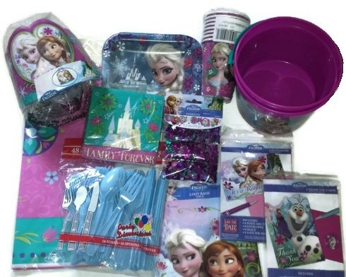 Disney Frozen Party Supplies for 8; Invitations, Thank You Cards, Confetti, Tableware and Decorations
