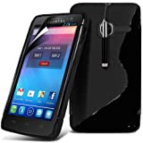 Fone-Case Alcatel One Touch 3040 Protective S Line Wave Gel Skin Case Cover With LCD Screen Protector Guard & Retractable Aluminium Capacitive Stylus Pen (Black)