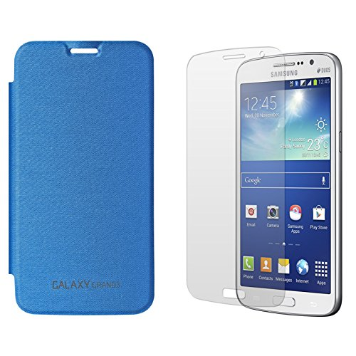 DMG Smooth PU Leather Back Replace Flip Cover Case For Samsung Galaxy Grand Max SM-G7200 (Royal Blue) + Matte Screen