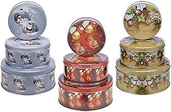 Metall 3-teiliges Weihnachten Keksdosen Set, 14 bis 20 cm, rund