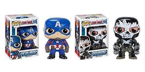 Funko POP Marvel Captain America Civil War: Captain America and Crossbones Toy Action Figure - 2 Piece BUNDLE