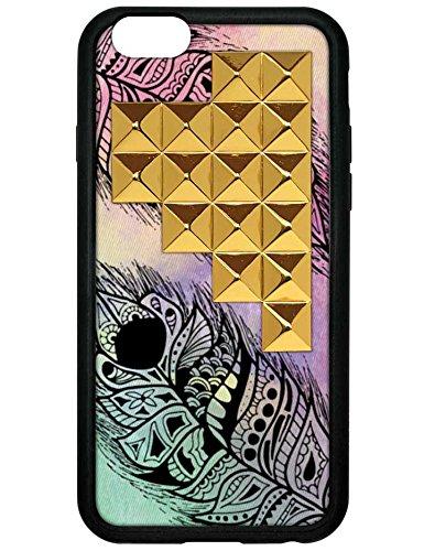 wildflower ( ワイルドフラワー ) ロサンゼルス の 飛躍 する フェザー スタッズ ピラミッド iphone6ケース Feather Gold Studded Pyramid iPhone 6 Case ファブリック 布 ゴールド スタッド アイフォン ケース モバイル カバー apple6 海外 ブランド