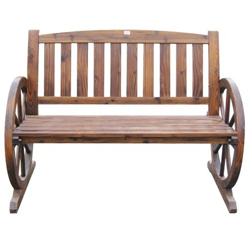 WOODEN GARDEN BENCH SEAT BURNT WOOD SEATER OUTDOOR PARK PATIO CONSERVATORY 2 3