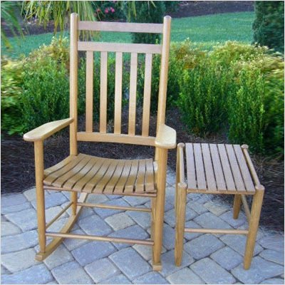 Adult Rocking Chair and Side Table in Medium Oak