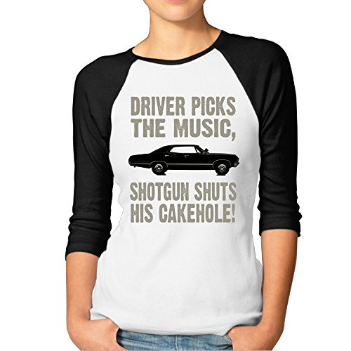 SAXON13 Women's Funny Supernatural Driver Picks The Music Raglan Baseball T-Shirt (Sam And Dean Doll compare prices)
