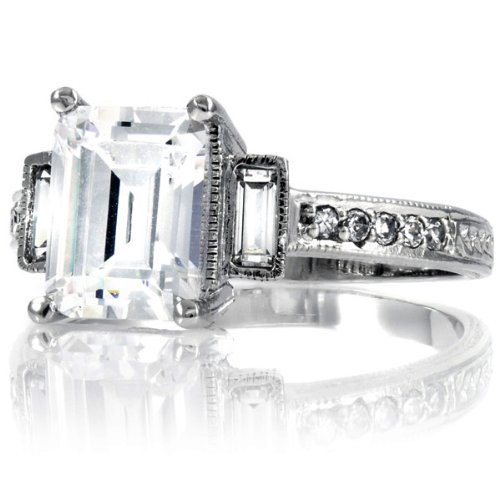 Norah's Engagement Vintage Rings  Emerald Cut CZ  7