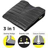 Support Seat Cushion. Orthopedic Wedge for Posture + Ergonomic Stability Cells + Coccyx Cutout for Comfort. Medium Firmness Foam Chair Pad for Office, Car and Home. PATENTED Stabilizing Air Cells Align the Spine and Strengthen the Core with Active Sitting (Like a Balance Ball). Relieve Back, Sciatica, Tailbone, Lumbar, Leg and Neck Pain.