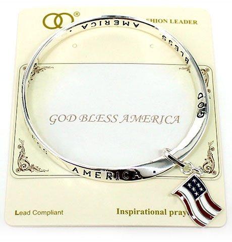 God Bless America, American Flag Charm Twist Bracelet Inspirational Card by Jewelry Nexus